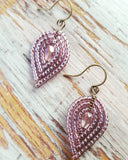 Small Beaded Reverse Drop Earrings - Cool and Soft Hues