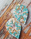 Medium Beaded Reverse Drop Earrings - Cool and Soft Hues