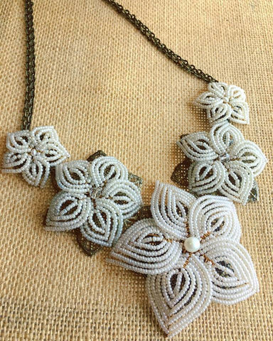 Bridal Ivory Beaded Flower Statement Necklace
