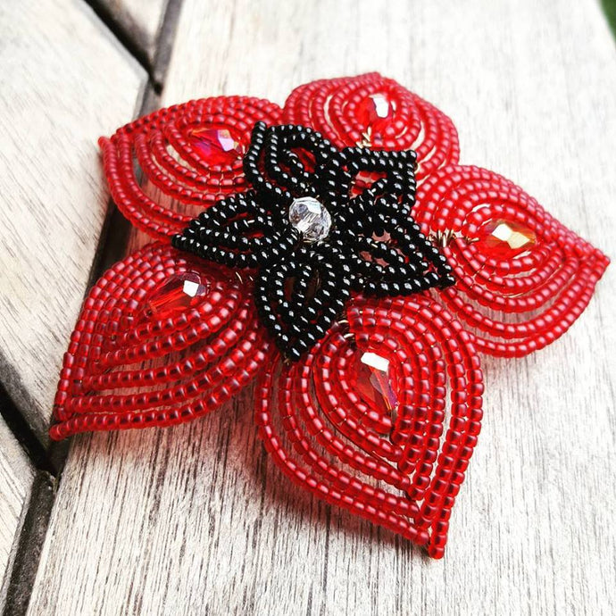 Double Layer French Beaded Flower Hair Piece