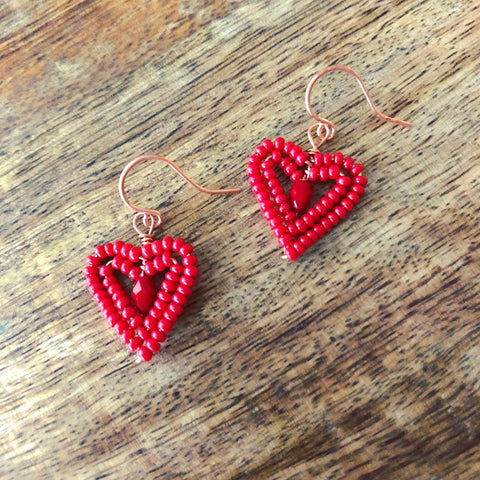 Tiny Beaded Heart Earrings