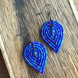 Medium Beaded Petal Earrings