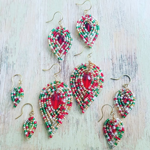 Christmas Beaded Petal Earrings