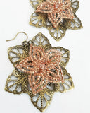 Beaded Flower Filigree Earrings