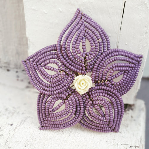Lavender French Beaded Flower Hair Piece