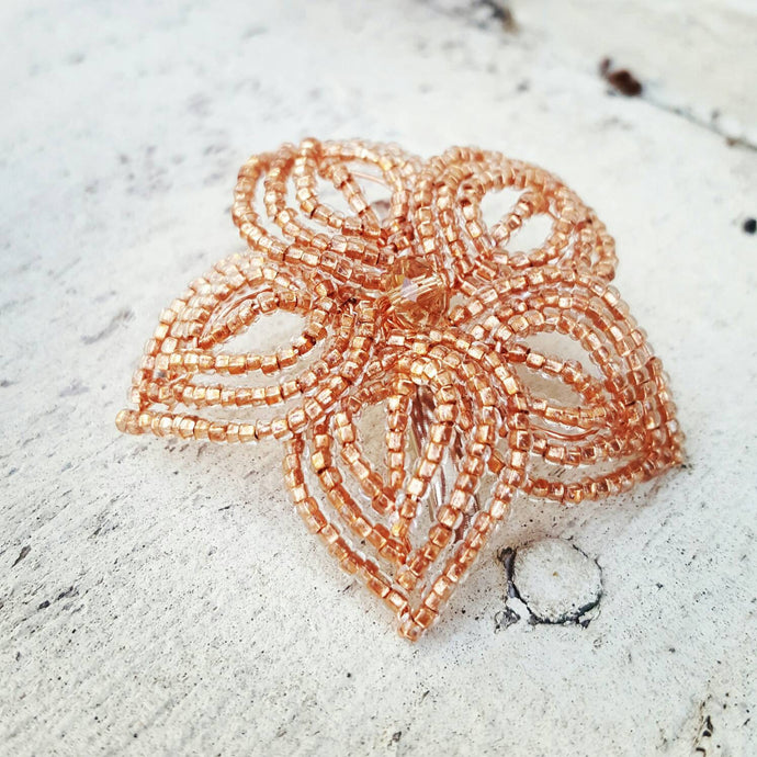 Rose Gold Beaded Flower Hair Piece