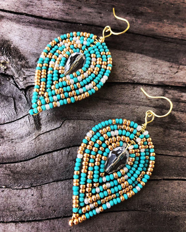 Large Beaded Reverse Drop Earrings