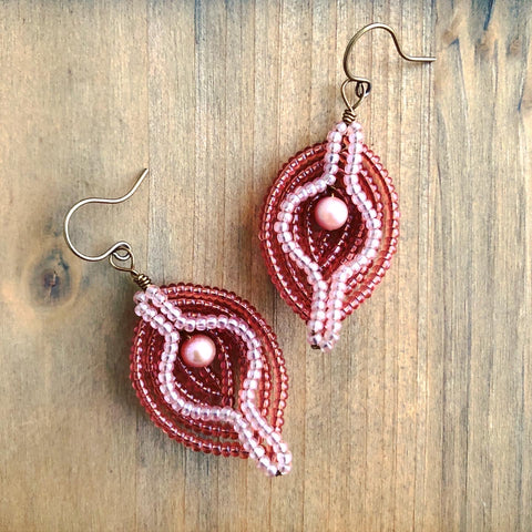 Beaded Pearl Vulva Earrings