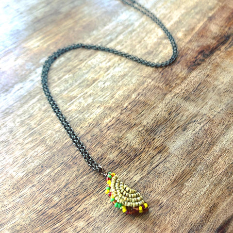 Teeny Tiny Beaded Taco Necklace