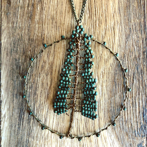 Beaded Redwood Tree of Life Necklace