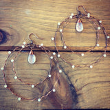 Gemstone Goddess - Wire Wrapped Double Hoop Beaded Earrings