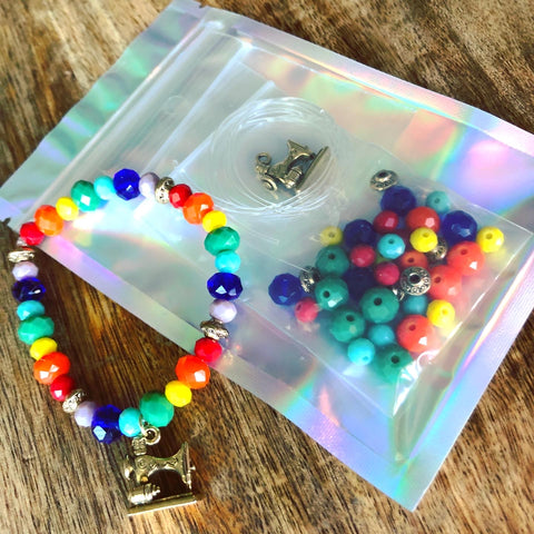 Sewing Machine Rainbow Beaded Stretch Bracelet Kit