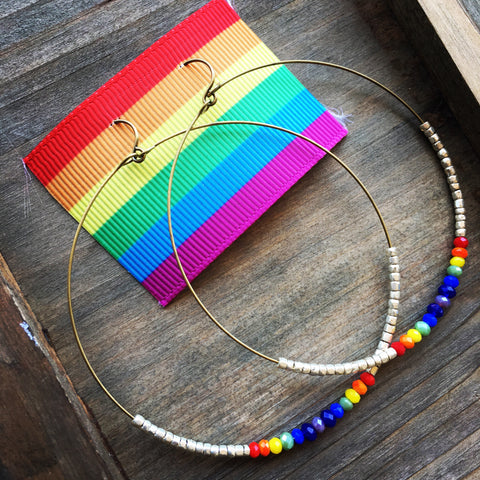 Rainbow Pride Crystal Beaded Hoop Earrings
