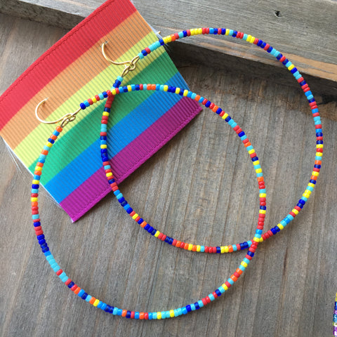 Tiny seed bead rainbow pride hoop earrings