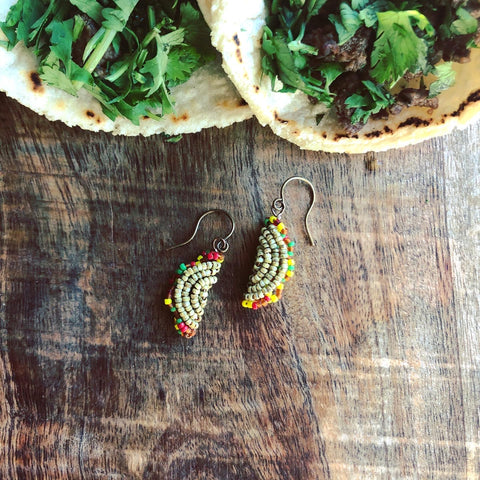 Teeny Tiny Beaded Taco Earrings
