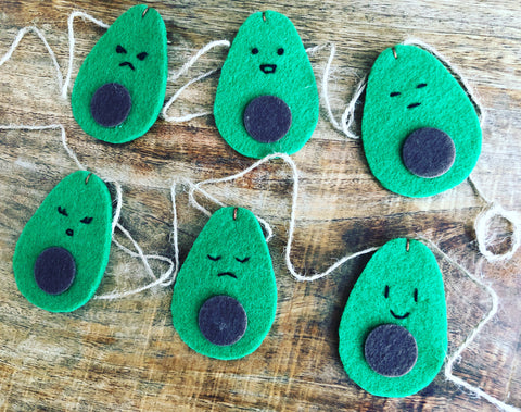 Avocado Faces Felt Garland