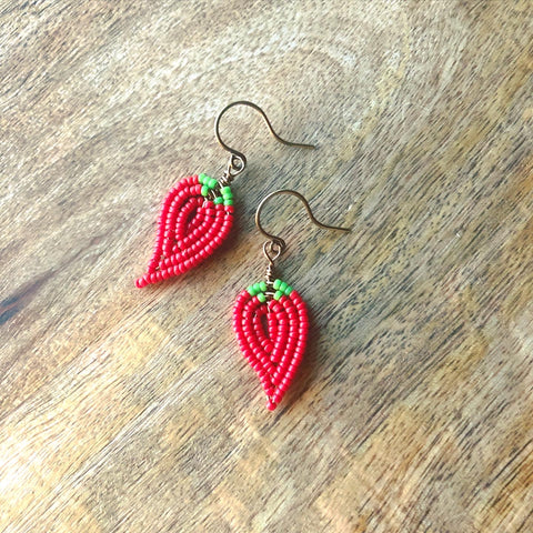 Teeny Tiny Beaded Chili Pepper Earrings