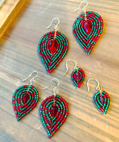 Holiday Beaded Petal Earrings