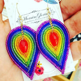 Large Rainbow Beaded Petal Earrings