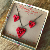 Beaded Heart Jewelry Gift Box Set