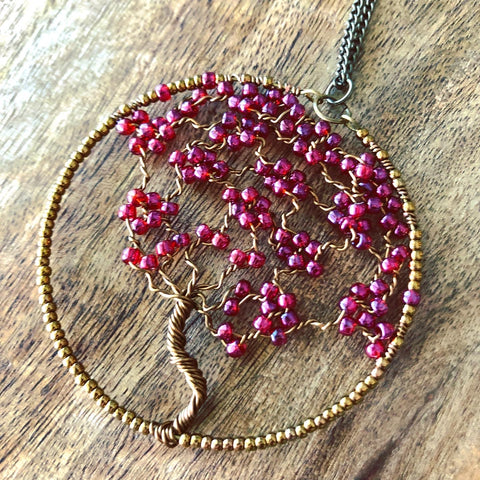 Beaded Wire Tree of Life Necklace
