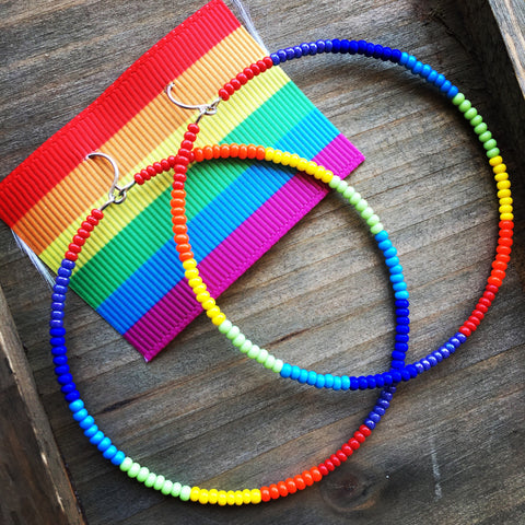 Rainbow Pride Hoop Earrings