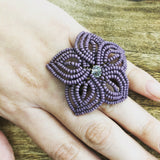 Large Beaded Flower Ring