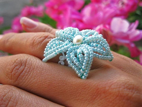 Small Beaded Flower Ring