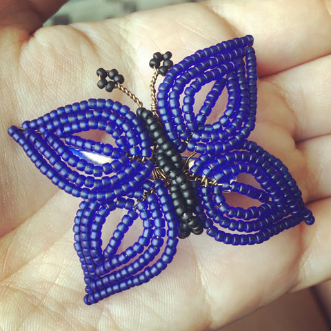 Beaded Butterfly Hair Piece and Brooch Pin