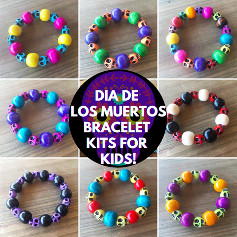 Kids Dia de los Muertos Beaded Stretch Bracelet Kits