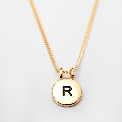 Custom Initial Letter Round Metal Necklace - Chloe's Jewelry Box