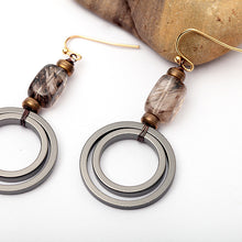 Natural Stone 2-Circle Earrings - Chloe's Jewelry Box