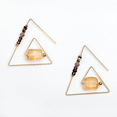 Natural Stone Triangle Unique Earrings - Chloe's Jewelry Box