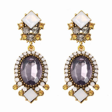 Gothic Vintage White & Purple Earrings - Chloe's Jewelry Box