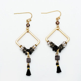 Black Tassel Square Earrings - Chloe's Jewelry Box