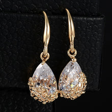Romantic Gold Silver Crystal Drop Earrings - Chloe's Jewelry Box
