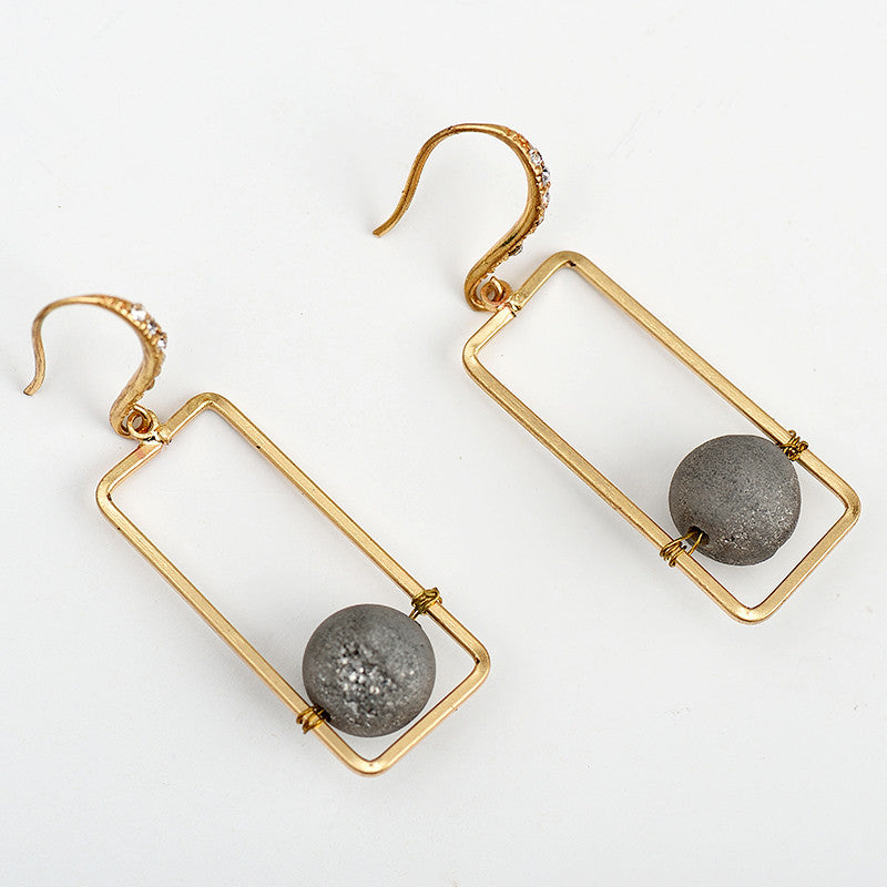 Natural Stone Gray Rectangle Earrings - Chloe's Jewelry Box