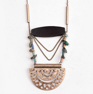 Natural Stone Retro Metal Necklace - Chloe's Jewelry Box