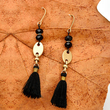 Black Thread Tassel Drop Earrings - Chloe's Jewelry Box