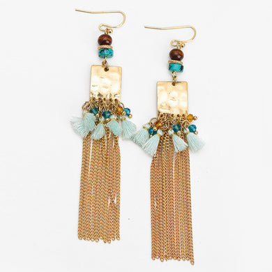 Gold Tassel Drop Earrings - Chloe's Jewelry Box
