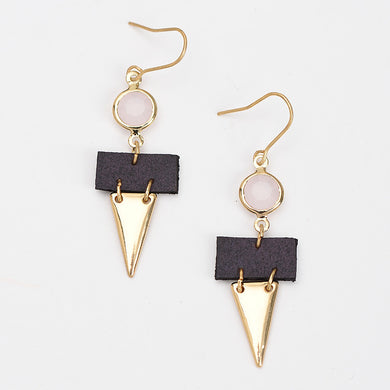 Leather Drop Triangle Earrings - Chloe's Jewelry Box