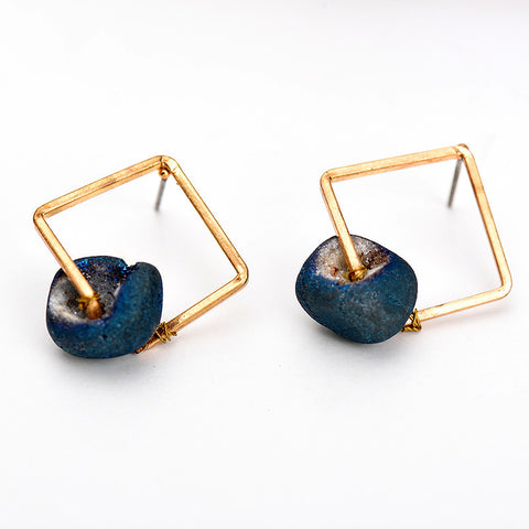 Natural Stone Square Hollow Earrings - Chloe's Jewelry Box
