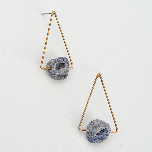 Natural Stone Triangle Stud Earrings - Chloe's Jewelry Box
