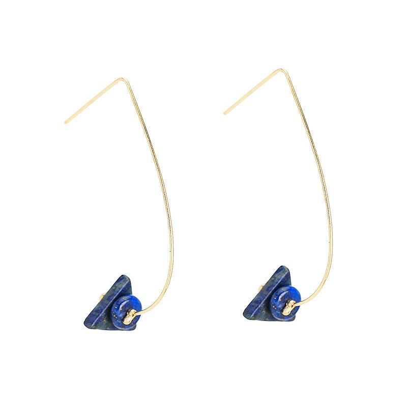 Natural Stone Blue Triangle Earrings - Chloe's Jewelry Box