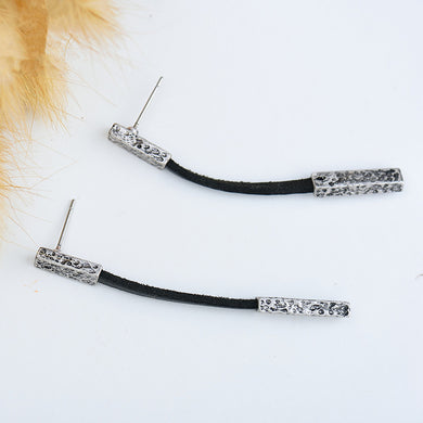 Black Leather Long Earrings - Chloe's Jewelry Box