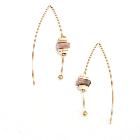 Natural Stone Hook Pink Earrings - Chloe's Jewelry Box