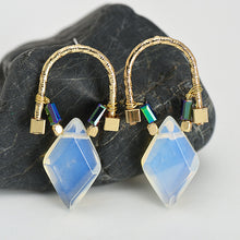 Natural Stone Stud Gold Earrings - Chloe's Jewelry Box