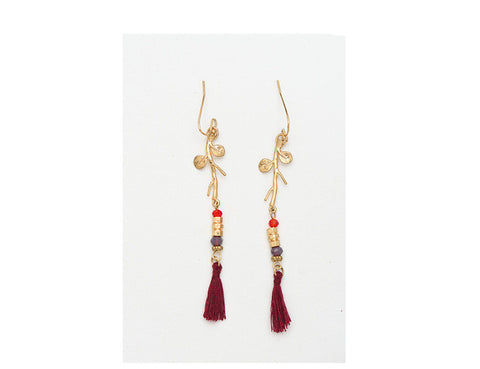 Red Thread Tassel Tree Earrings - Chloe's Jewelry Box