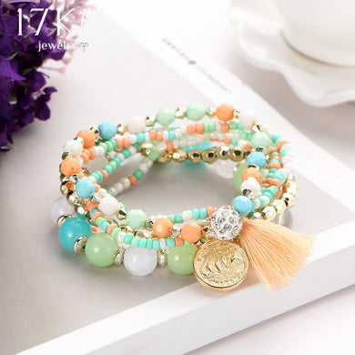 Bohemian Multicolor Beads Weave Tassel Bracelet - Chloe's Jewelry Box