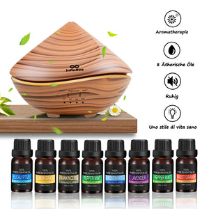 infinitoo 2020 500ml Essential Oils Diffuser, Wood Grain Ultrasonic Diffuser Auto Shut-Off Cool Mist Humidifier with 4 Modes Adjust Time, 7 Colors LED Lights for Baby Room, Home,Yoga, SPA, Office